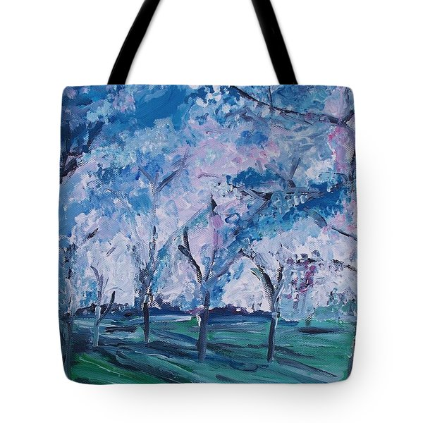 Cherry Trees Impressionism Tote Bag by Eric  Schiabor
