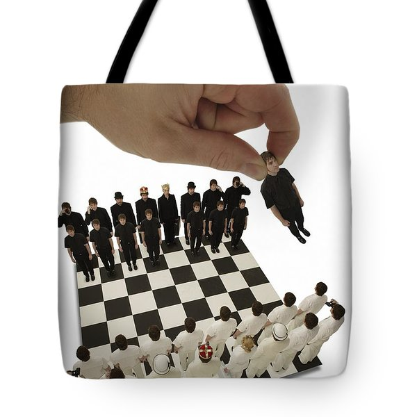Chess Being Played With Little People Tote Bag by Darren Greenwood