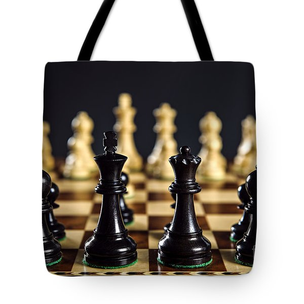 Chess Pieces On Board Tote Bag by Elena Elisseeva