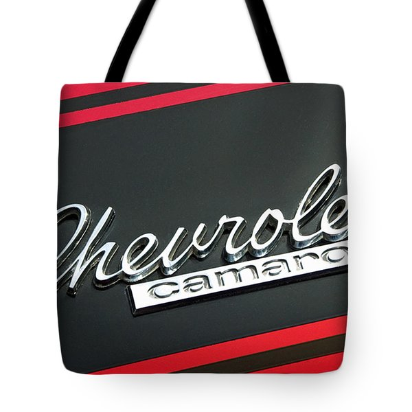 Chevy Camaro In Red Tote Bag by Charlette Miller