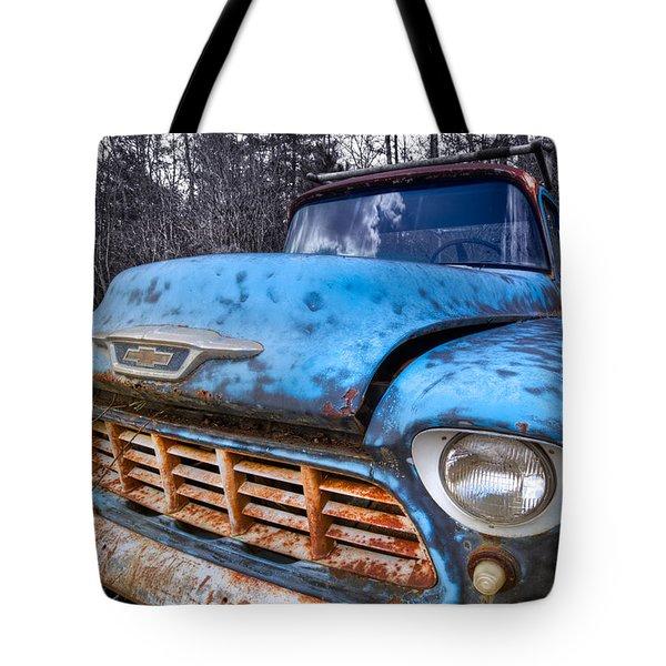 Chevy In The Woods Tote Bag by Debra and Dave Vanderlaan