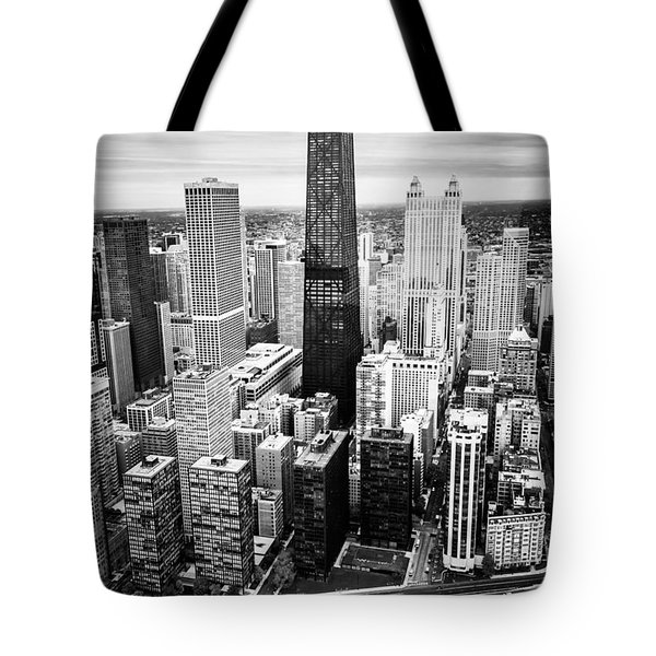 Chicago Aerial With Hancock Building In Black And White Tote Bag by Paul Velgos
