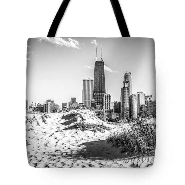 Chicago Beach and Skyline Black and White Photo Tote Bag by Paul Velgos