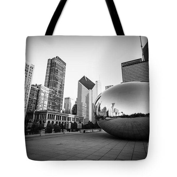 Chicago Bean and Chicago Skyline in Black and White Tote Bag by Paul Velgos