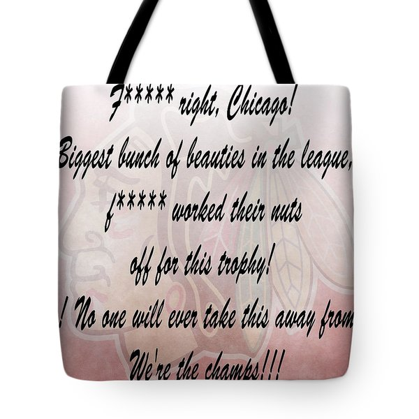 Chicago Blackhawks Crawford's Speech Tote Bag by Dan Sproul