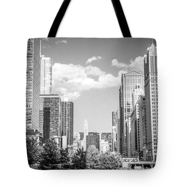 Chicago Cityscape Black And White Picture Tote Bag by Paul Velgos