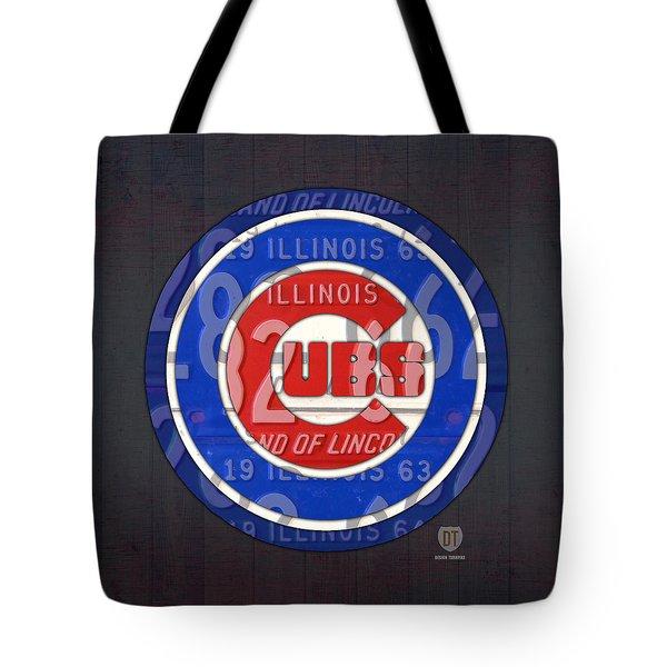 Chicago Cubs Baseball Team Retro Vintage Logo License Plate Art Tote Bag by Design Turnpike