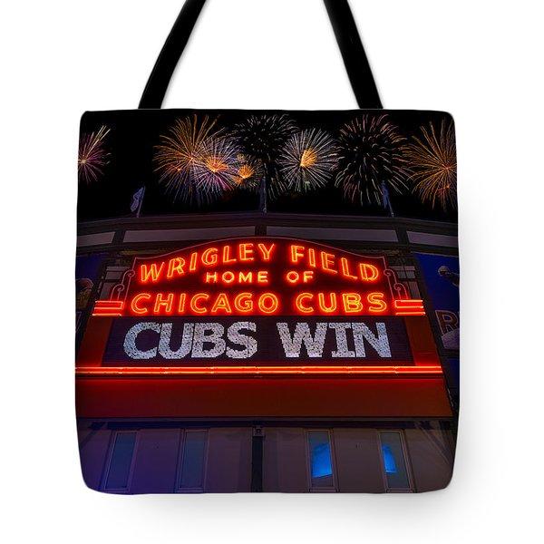 Chicago Cubs Win Fireworks Night Tote Bag by Steve Gadomski