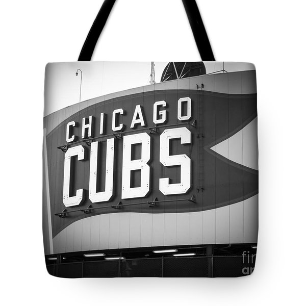 Chicago Cubs Wrigley Field Sign Black And White Picture Tote Bag by Paul Velgos