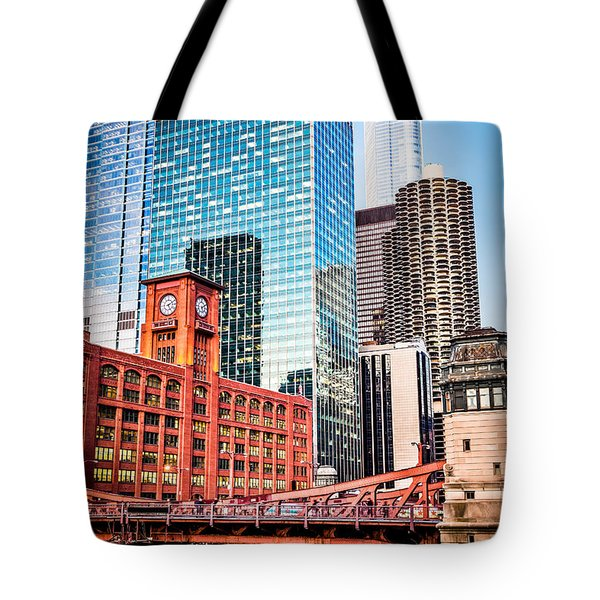 Chicago Downtown at LaSalle Street Bridge Tote Bag by Paul Velgos