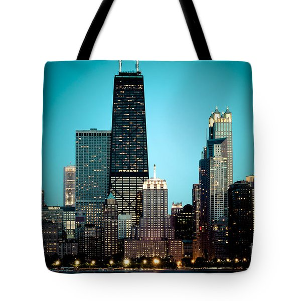 Chicago Downtown At Night With Hancock Building Tote Bag by Paul Velgos