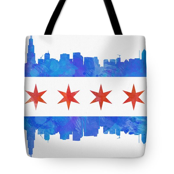 Chicago Flag Watercolor Tote Bag by Mike Maher