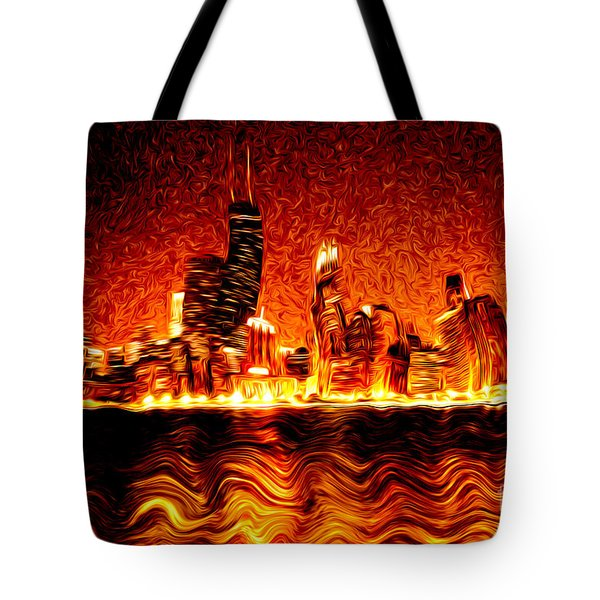 Chicago Hell Digital Painting Tote Bag by Paul Velgos
