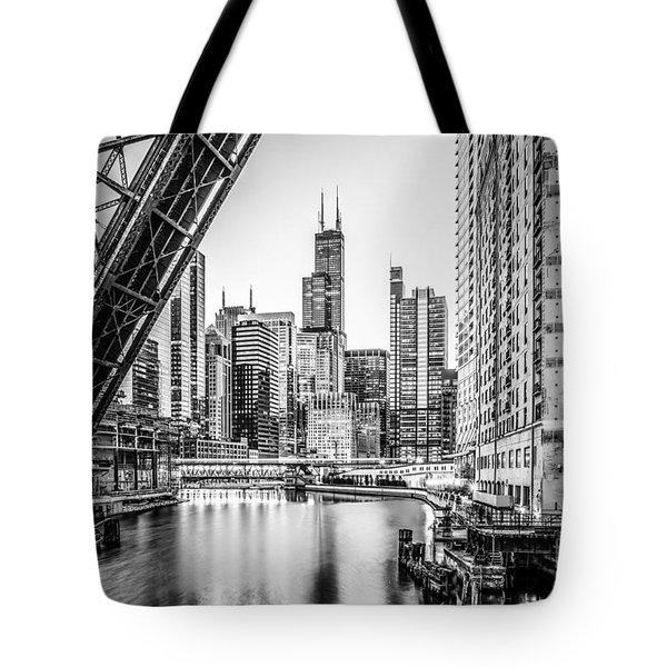 Chicago Kinzie Railroad Bridge Black And White Photo Tote Bag by Paul Velgos
