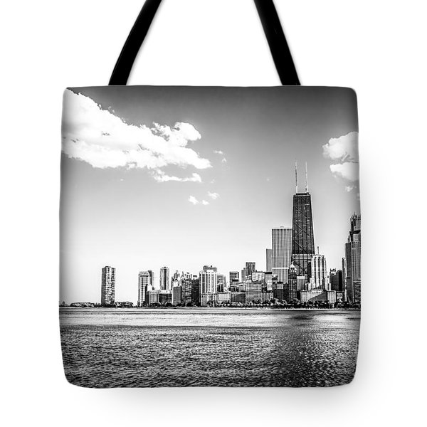 Chicago Lakefront Skyline Black And White Picture Tote Bag by Paul Velgos