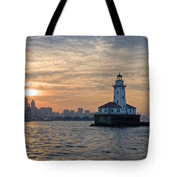 Chicago Lighthouse And Skyline Tote Bag by John Hansen