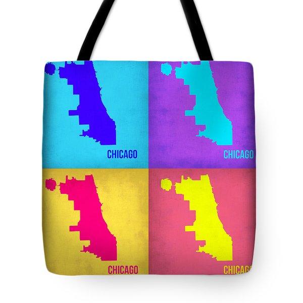 Chicago Pop Art Map 1 Tote Bag by Naxart Studio