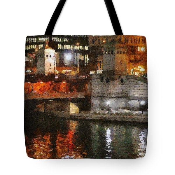 Chicago River At Michigan Avenue Tote Bag by Jeff Kolker