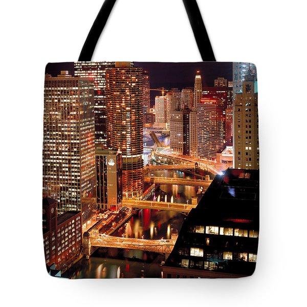 Chicago River At Night Tote Bag by Thomas Firak