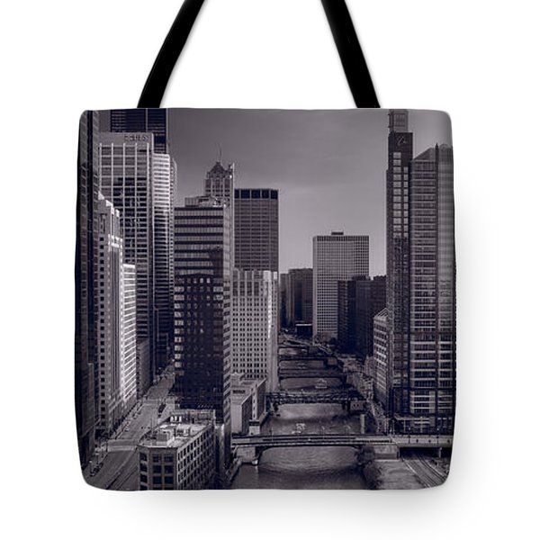 Chicago River Bridges South BW Tote Bag by Steve Gadomski