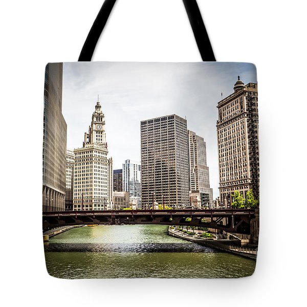 Chicago River Skyline at Wabash Avenue Bridge Tote Bag by Paul Velgos