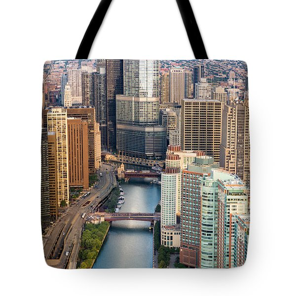 Chicago River Sunrise Tote Bag by Steve Gadomski