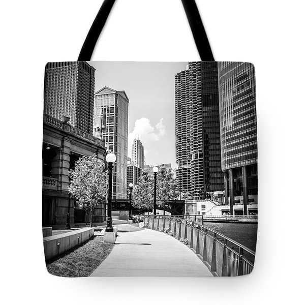 Chicago Riverwalk Black And White Picture Tote Bag by Paul Velgos