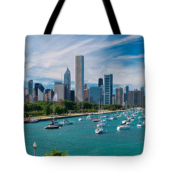 Chicago Skyline Daytime Panoramic Tote Bag by Adam Romanowicz