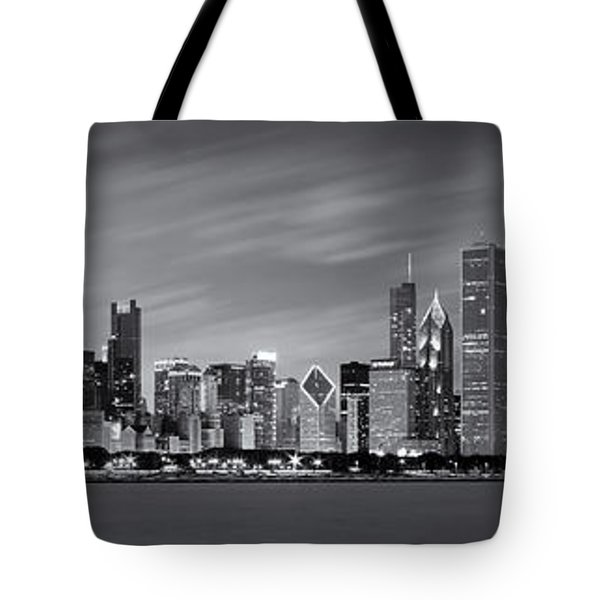 Chicago Skyline At Night Black And White Panoramic Tote Bag by Adam Romanowicz