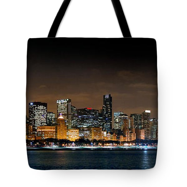 Chicago Skyline At Night Panorama Color 1 To 3 Ratio Tote Bag by Jon Holiday