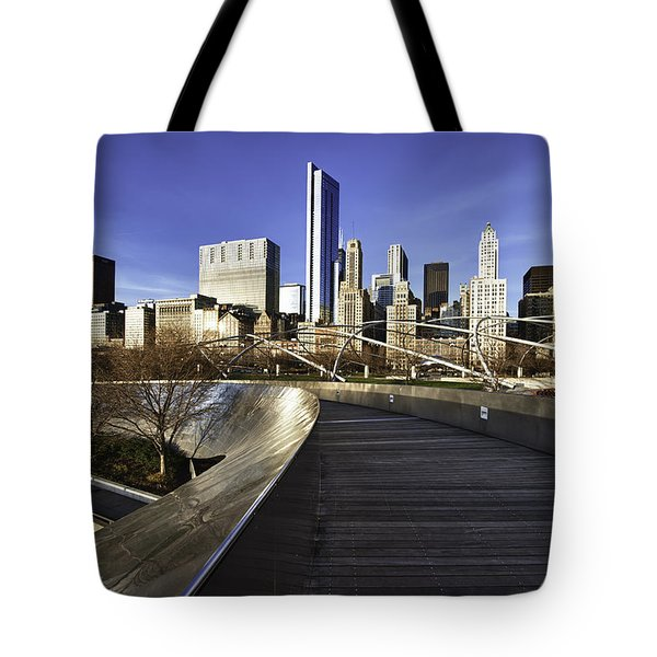 Chicago Skyline At Sunrise Tote Bag by Sebastian Musial
