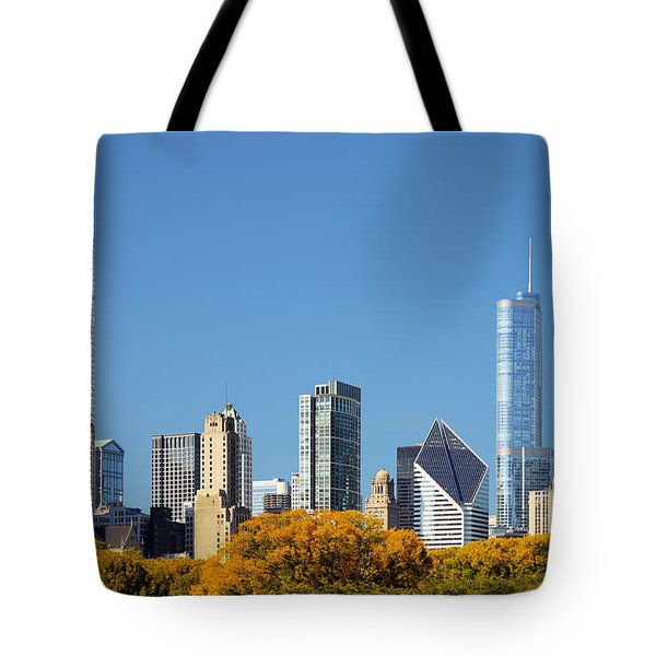 Chicago skyline from Millenium Park III Tote Bag by Christine Till