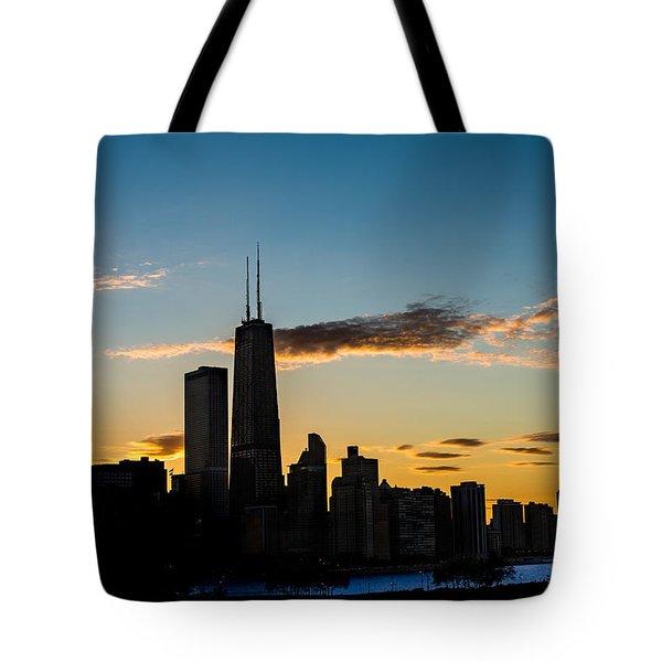Chicago Skyline Silhouette Tote Bag by Steve Gadomski