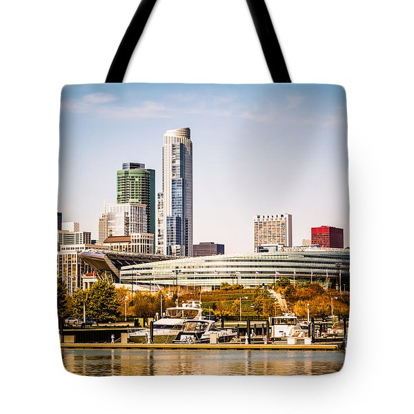 Chicago Skyline With Soldier Field Tote Bag by Paul Velgos