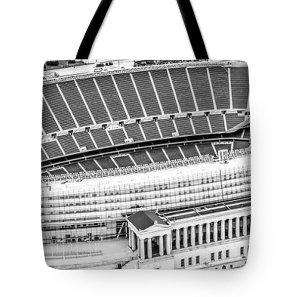 Chicago Soldier Field Aerial Panorama Photo Tote Bag by Paul Velgos