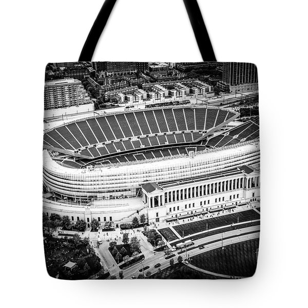 Chicago Soldier Field Aerial Picture In Black And White Tote Bag by Paul Velgos