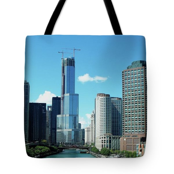 Chicago Trump Tower Under Construction Tote Bag by Thomas Woolworth