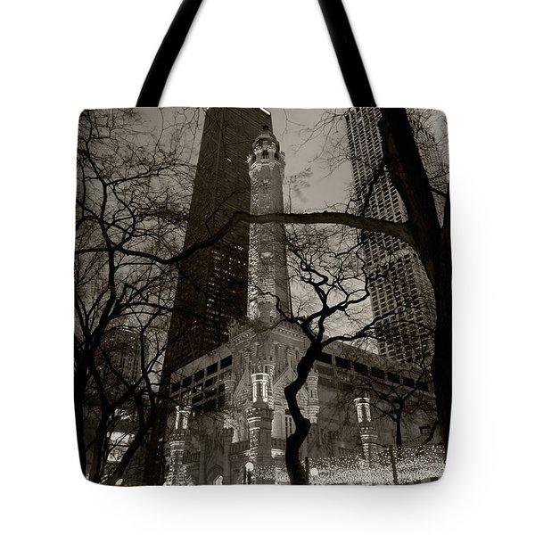 Chicago Water Tower B W Tote Bag by Steve Gadomski