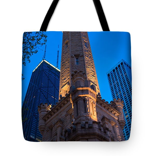 Chicago Water Tower Panorama Tote Bag by Steve Gadomski