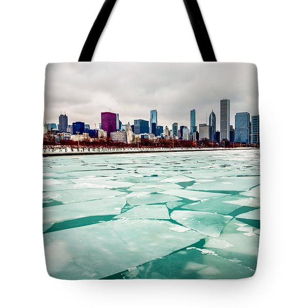 Chicago Winter Skyline Tote Bag by Paul Velgos