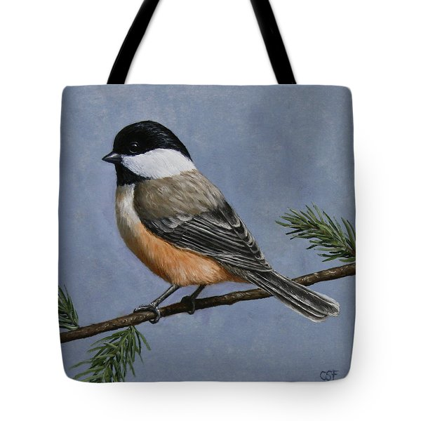 Chickadee Charm Tote Bag by Crista Forest