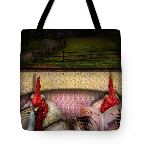 Chicken - Chick flick Tote Bag by Mike Savad