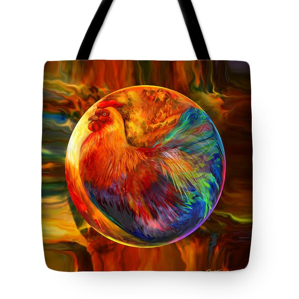 Chicken In The Round Tote Bag by Robin Moline