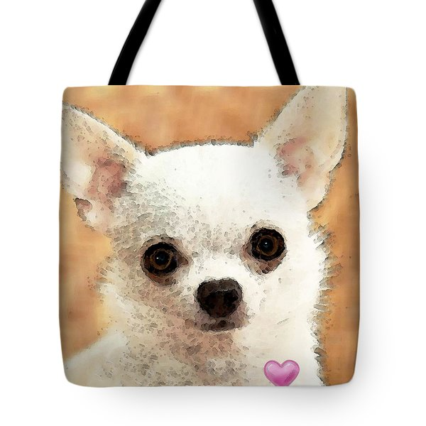 Chihuahua Dog Art - Big Heart Tote Bag by Sharon Cummings