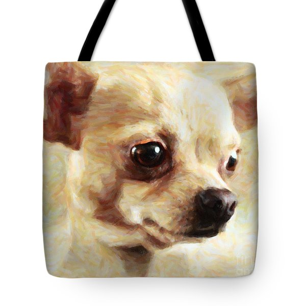 Chihuahua Dog - Painterly Tote Bag by Wingsdomain Art and Photography