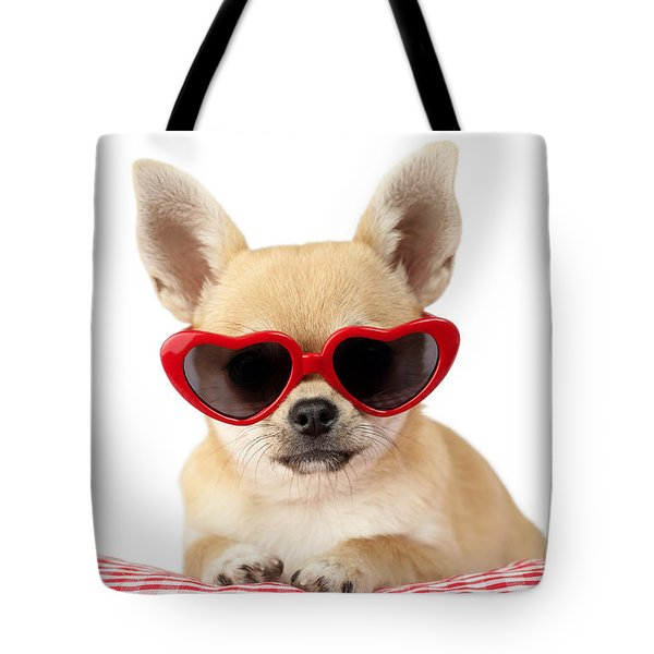 Chihuahua in Heart Sunglasses DP813 Tote Bag by Greg Cuddiford