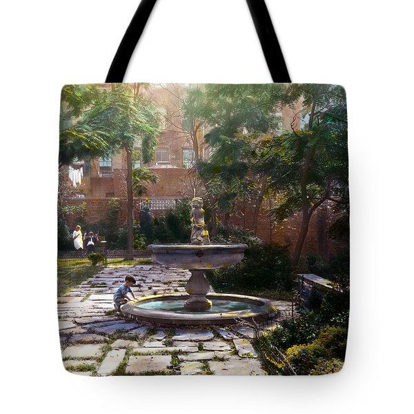 Child And Fountain Tote Bag by Terry Reynoldson
