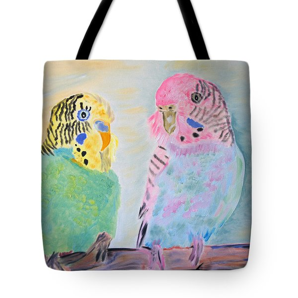 Childhood Parakeets Tote Bag by Meryl Goudey
