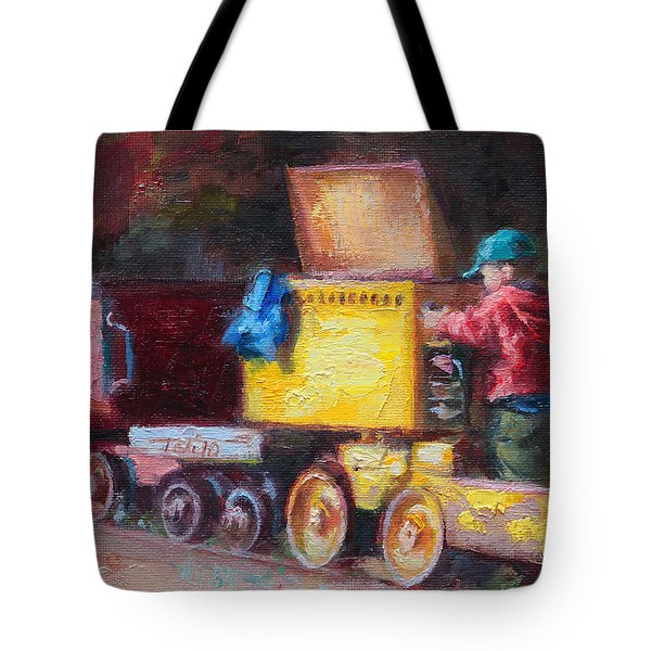 Child's Play - Gold Mine Train Tote Bag by Talya Johnson