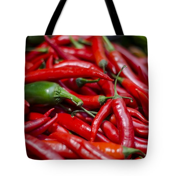 Chili Peppers At the Market Tote Bag by Heather Applegate